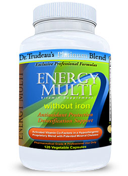 Photo of XYMOGEN ActivNutrients without Iron under our private label Dr. Trudeau's Platinum Blend - Energy Multi as found at gfchiro.com